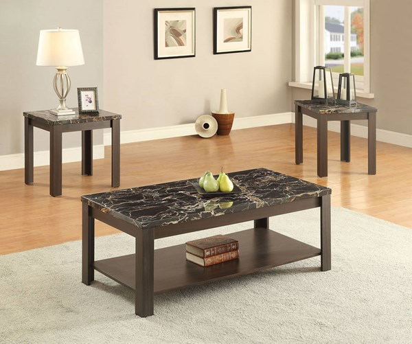 Afton Walnut Faux Marble Wood 3pc Pack Coffee Table Set ACM-82138