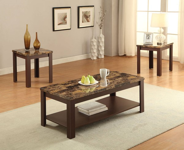 Afton Cherry Faux Marble Wood 3pc Pack Coffee Table Set ACM-82140