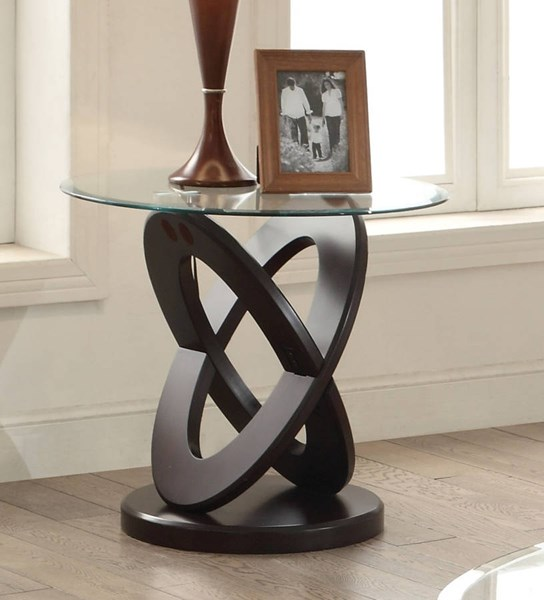 Gable Espresso Wood Glass Top Tempered End Table ACM-82162