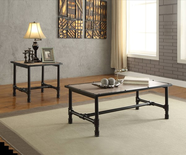 Caitlin Rustic Oak Black Metal Melamine Paper 3pc Coffee Table Set ACM-8219-OCT-S1