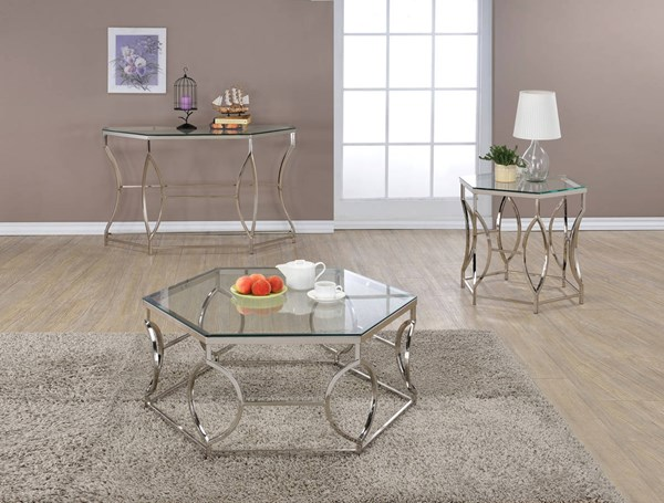 Farica Chrome Metal Clear Glass Coffee Table Set ACM-8220-OCT