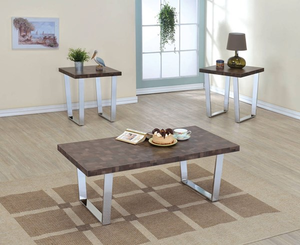 James Chrome Melamine Metal 3pc Coffee Table Set ACM-8221-OCT-S1