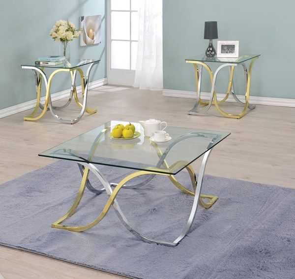 Eadoin Chrome Brass Metal Glass 3pc Coffee Table Set ACM-8222-OCT-S1