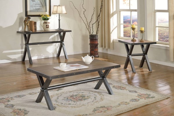 Earvin Weathered Cherry Poplar Metal Coffee Table Set ACM-8223-OCT