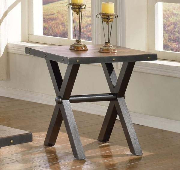 Earvin Weathered Cherry Poplar Metal End Table ACM-82232