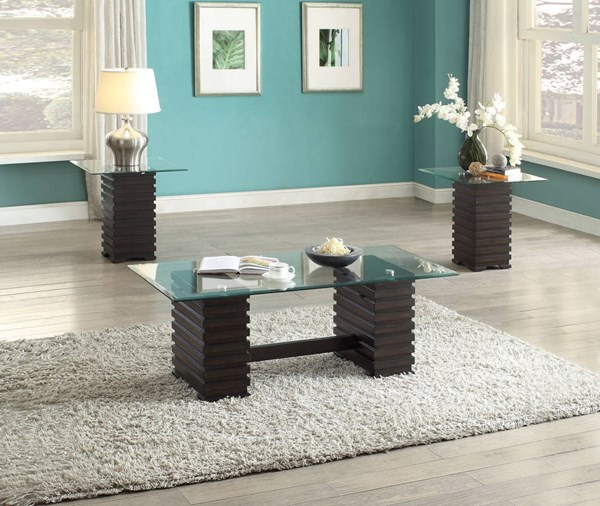 Earleen Espresso Wood Clear Glass 3pc Coffee Table Set ACM-82250