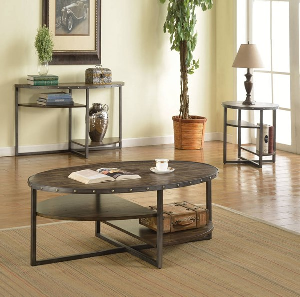 Idonia Weathered Dark Oak Metal MDF 3pc Coffee Table Set ACM-8226-OCT-S1