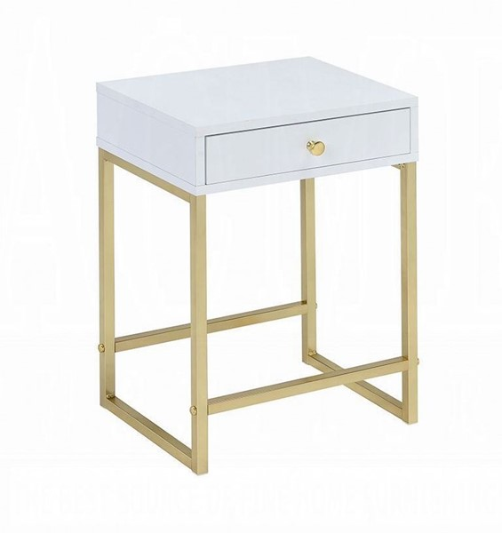 Acme Furniture Coleen White Side Table ACM-82298