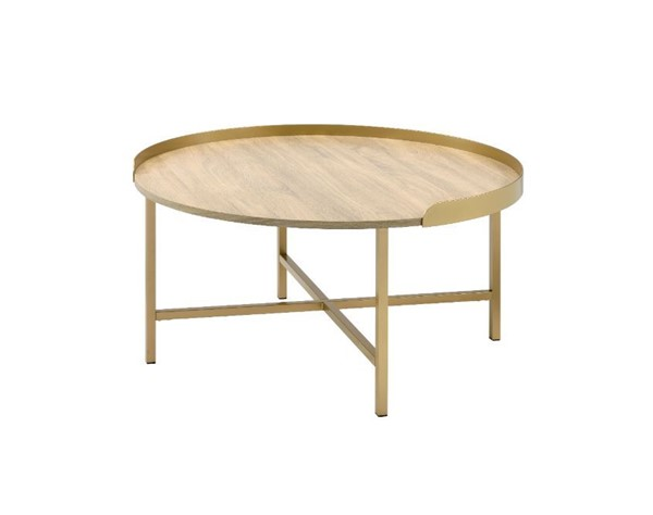 Acme Furniture Mithea Oak Gold Coffee Table ACM-82335