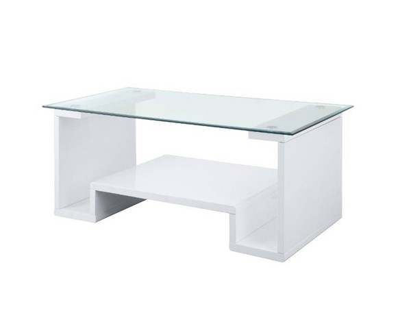 Acme Furniture Nevaeh Clear White Coffee Table ACM-82360