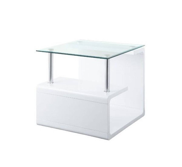 Acme Furniture Nevaeh Clear White End Table ACM-82362