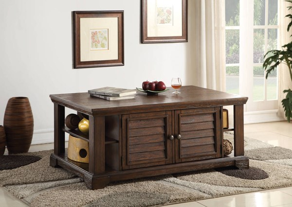 Evrard Dark Oak Rubberwood 3pc Coffee Table Set ACM-8275-OCT-S1