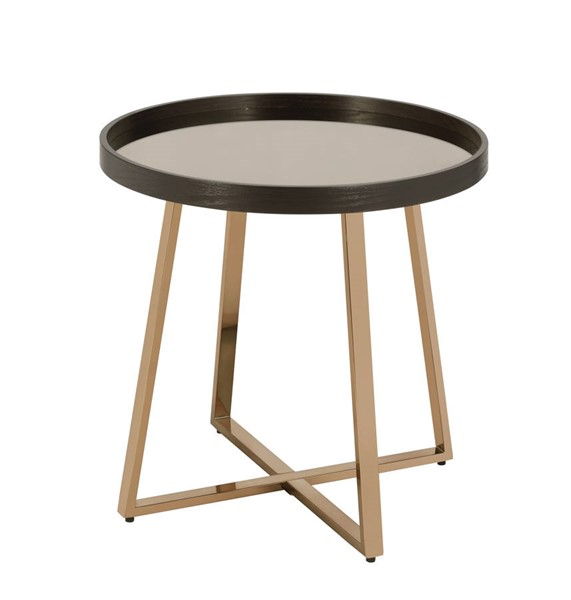 Acme Furniture Hepton Walnut Champagne End Table ACM-82947