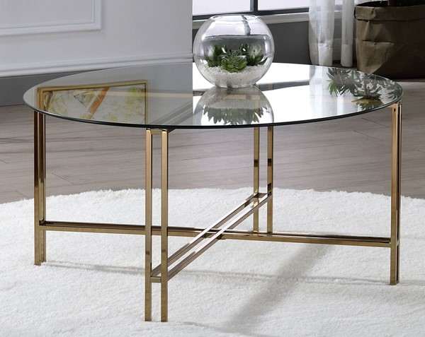Acme Furniture Veises Champagne Coffee Table ACM-82995
