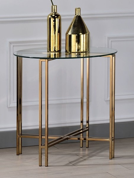 Acme Furniture Veises Champagne End Table ACM-82997