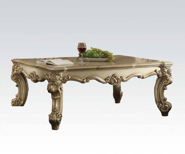 Vendome II Classic Gold Patina Cherry Wood MDF 3pc Coffee Table Sets ACM-831-OCT-S