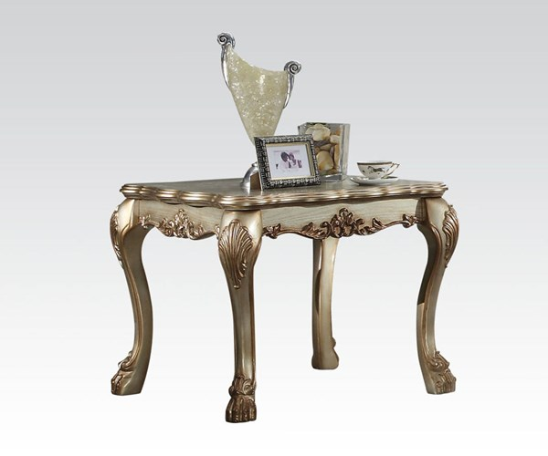 Dresden Gold Patina Wood Square End Table ACM-83161