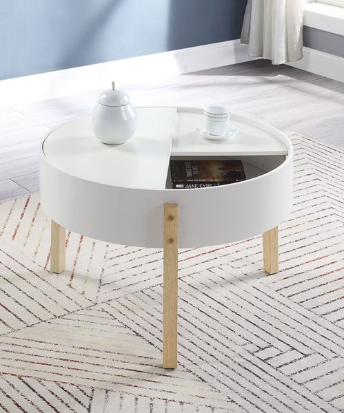 Acme Furniture Bodfish White Natural Coffee Table ACM-83215