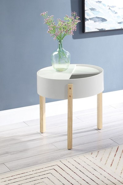 Acme Furniture Bodfish White Natural End Table ACM-83217