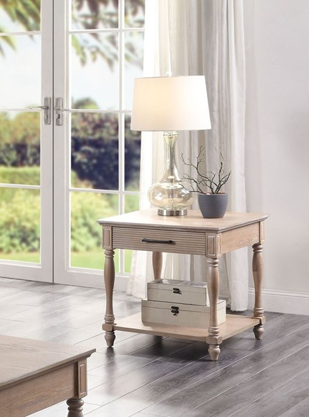 Acme Furniture Ariolo Antique White End Table ACM-83222