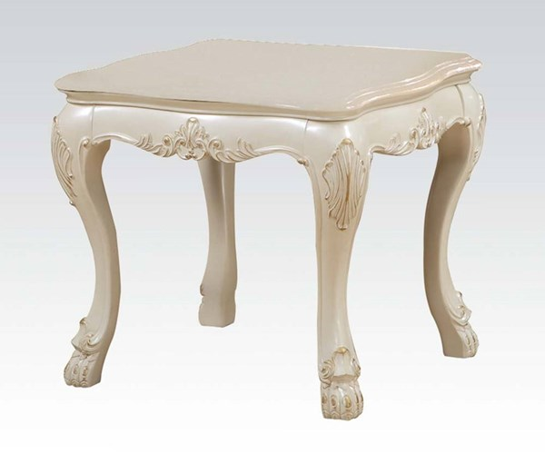 Dresden Traditional Antique White Wood End Table ACM-83261