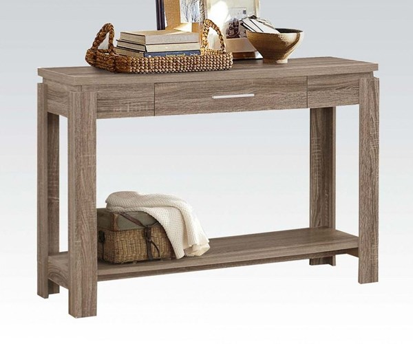 Xanti Dark Taupe Wood Sofa Table w/Bottom Shelf ACM-83287