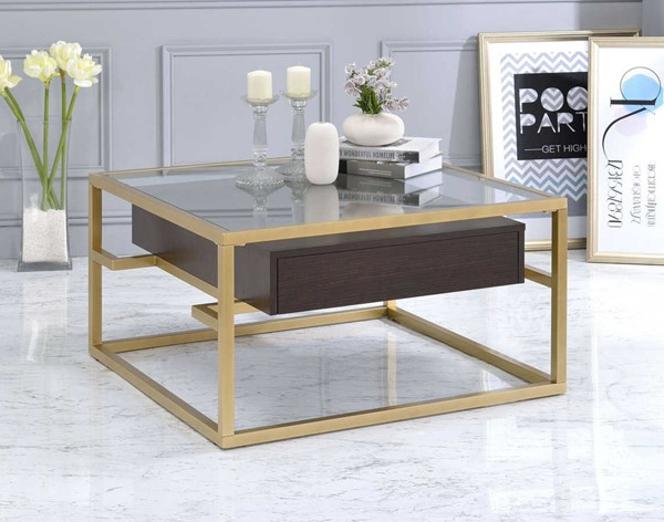 Acme Furniture Yumia Gold Clear Coffee Table ACM-83340