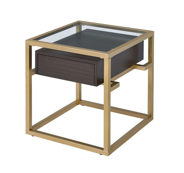 Acme Furniture Yumia Gold Clear Storage End Table ACM-83342