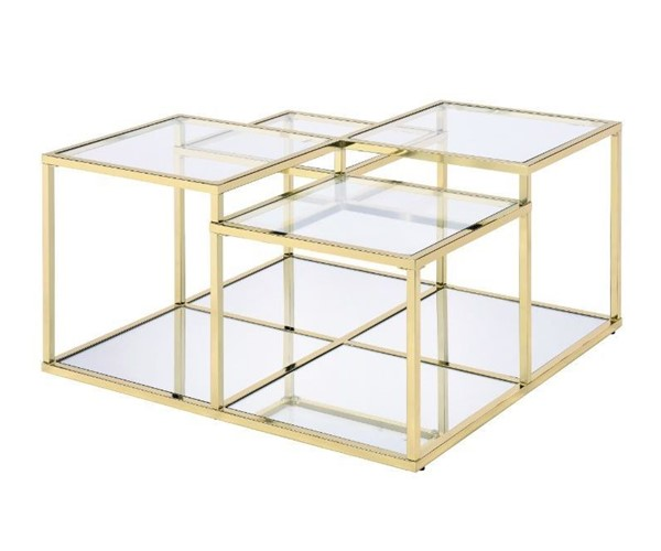 Acme Furniture Uchenna Clear Gold Coffee Table ACM-83470