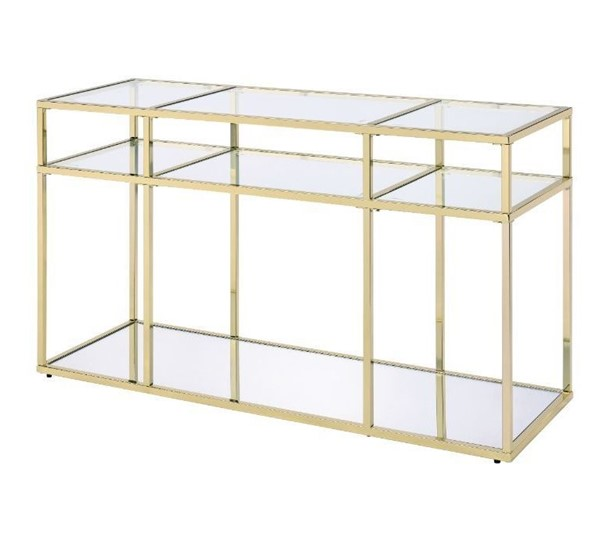 Acme Furniture Uchenna Clear Gold Sofa Table ACM-83473