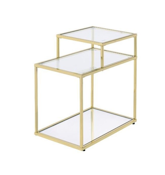 Acme Furniture Uchenna Clear Gold Side Table ACM-83474