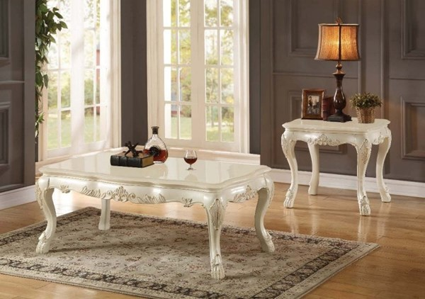 Chantelle Wood Pearl White Marble Top 3pc Coffee Table Set ACM-8354-OCT-S1