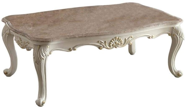 Acme Furniture Chantelle Pearl White Marble Top Coffee Table ACM-83540