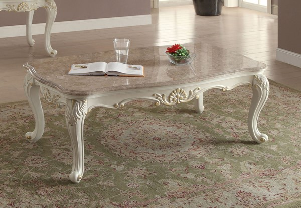 Acme Furniture Chantelle Pearl White Marble Top Coffee