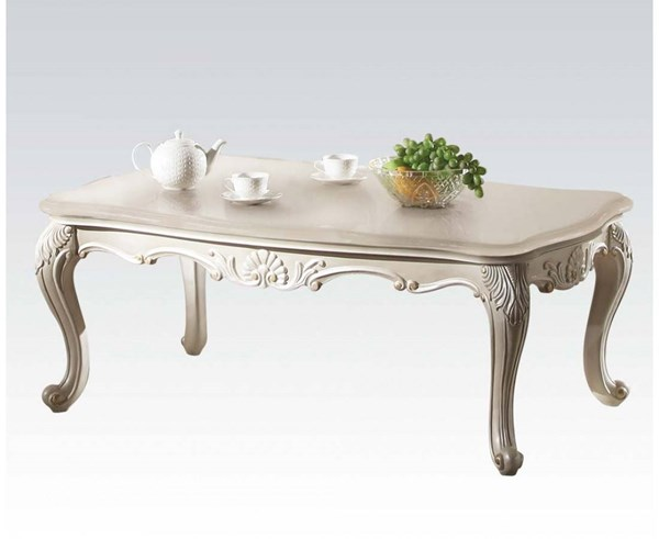 Chantelle Wood Pearl White Marble Top Rectangle Coffee Table ACM-83540