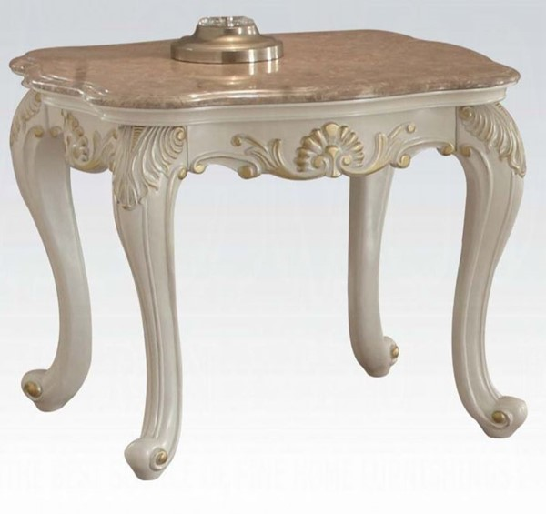 Acme Furniture Chantelle Pearl White Marble Top End Table ACM-83542
