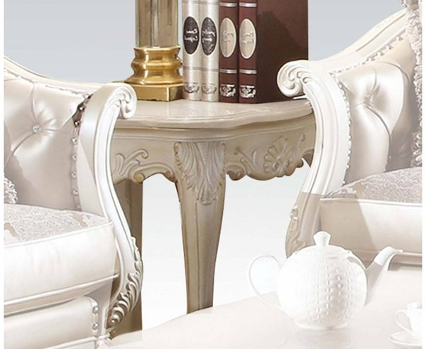 Chantelle Wood Pearl White Marble Top Square End Table ACM-83542