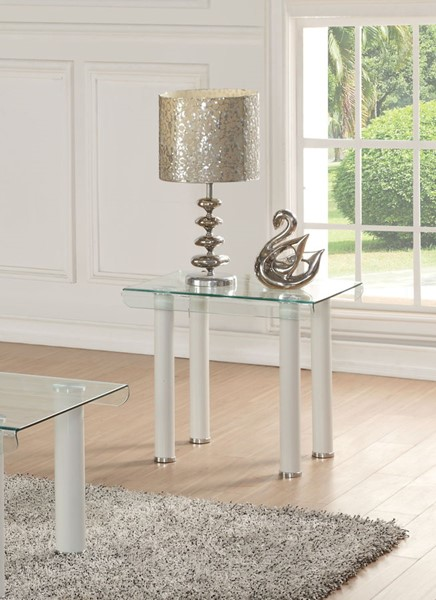 Acme Furniture Gordie Clear Glass White End Table ACM-83671
