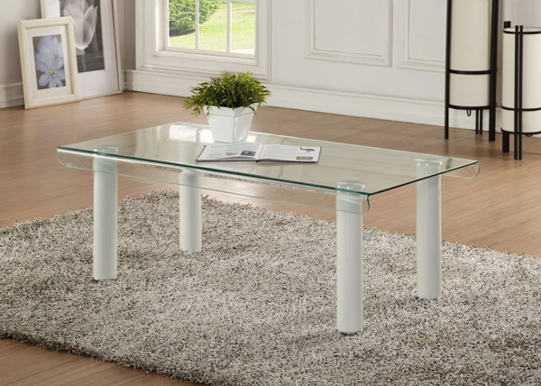 Acme Furniture Gordie White Clear Coffee Table ACM-83680