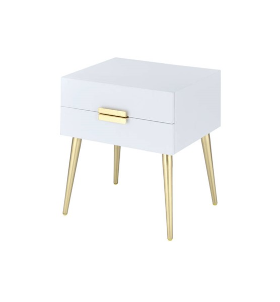 Acme Furniture Denvor White Gold End Table ACM-84496