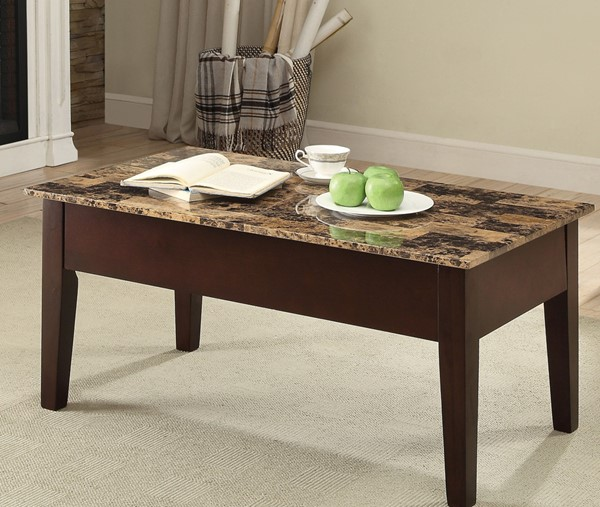 Acme Furniture Finely II Faux Marble Coffee Table with Lift Top ACM-84555