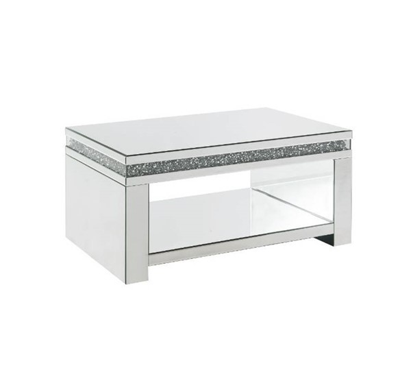 Acme Furniture Noralie Clear Glass Storage Coffee Table ACM-84715