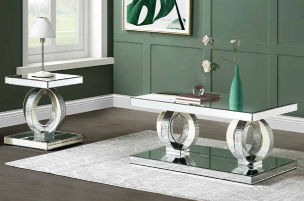 Acme Furniture Ornat Mirror 3pc Coffee Table Set ACM-8474-OCT-S1