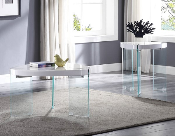 Acme Furniture Noland White Clear 3pc Coffee Table Set ACM-8491-OCT-S2
