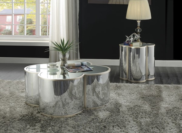 Acme Furniture Clover Silver Champagne 3pc Coffee Table Set ACM-8539-OCT-S1