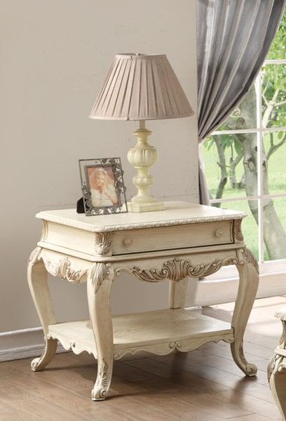 Acme Furniture Ragenardus Antique White End Table ACM-86022