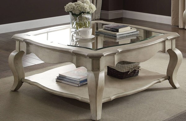Chelmsford Traditional Antique Taupe Wood Clear Glass Coffee Table ACM-86050