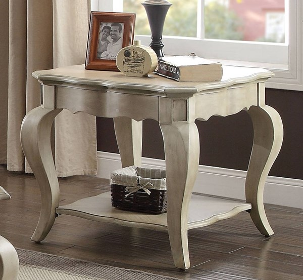 Chelmsford Traditional Antique Taupe Wood End Table ACM-86052
