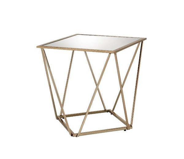 Acme Furniture Fogya Mirrored Champagne Gold End Table ACM-86057