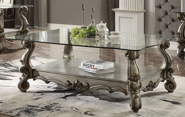 Acme Furniture Versailles Antique Platinum Coffee Table ACM-86840